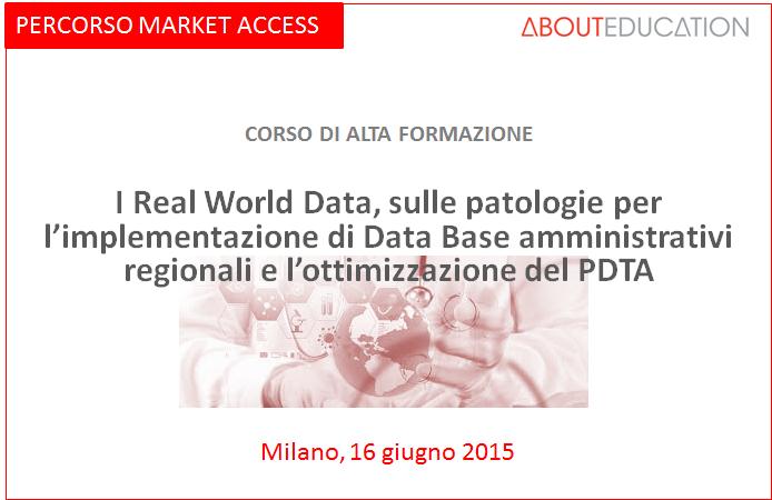 CORSO DI ALTA FORMAZIONE <br>I Real World Data, sulle patologie per l'implementazione di Data Base amministrativi regionali e l'ottimizzazione del PDTA